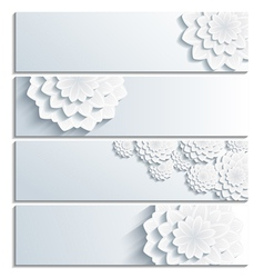 Set of banner with decorative 3d chrysanthemum vector image
