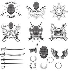 Set of fencing club labels vector image