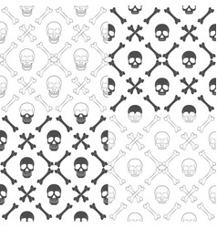 set of seamless patterns with skull and bones vector image