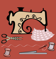 sewing machine craft working table vector image