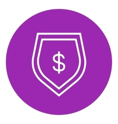 Shield with dollar symbol line icon vector