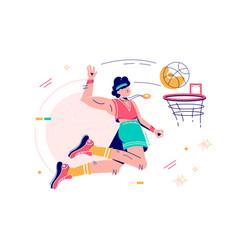sportsman throwing ball into basketball hoop vector image