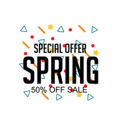 Spring special offer 50 off sale template design vector