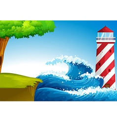 Strong waves near the lighthouse vector image