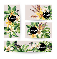 Summer set of cards with tropical green leaves vector