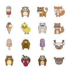 sweet and adorable kawaii set characters vector image
