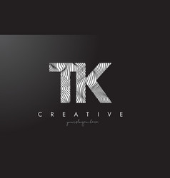 Tk t k letter logo with zebra lines texture vector