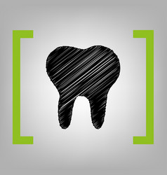 tooth sign black scribble vector image