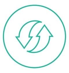 Two circular arrows line icon vector image vector image