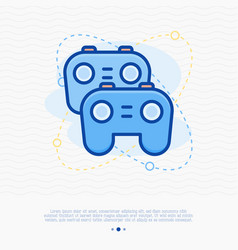 two game controllers thin line icon vector image