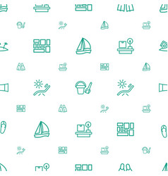 Vacation icons pattern seamless white background vector