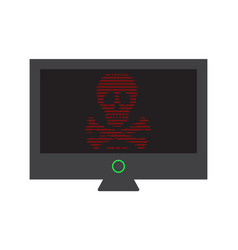 Virus attack on computer monitor screen urgent vector
