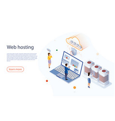 web hosting concept with character big data flow vector image