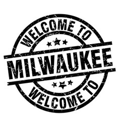 Welcome to milwaukee black stamp vector