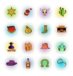 Wild west icons set vector