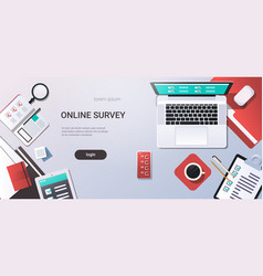 workplace desk online testing questionnaire form vector image