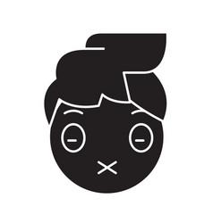 zipped mouth emoji black concept icon vector image