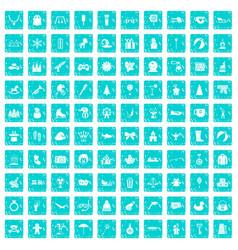 100 children icons set grunge blue vector image