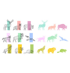animals polygonal linear set vector image vector image