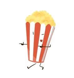 Funny fast food popcorn icon vector image