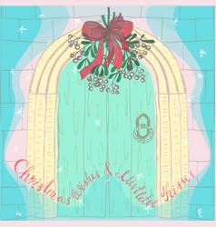 handdrawn christmas mistletoe under the door vector image vector image