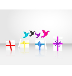 origami birds start to fly from giftbox vector image vector image