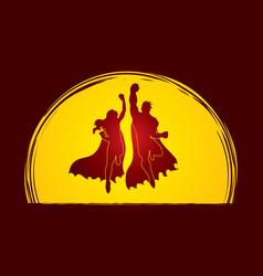 superhero man and woman jumping vector image
