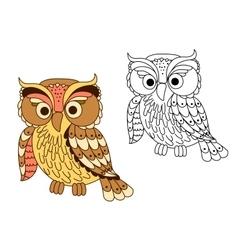 Cartoon owl bird in pastel colors vector image vector image