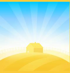 farm house near field of wheat vector image vector image