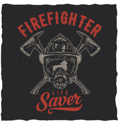 firefighter t-shirt label design vector image vector image