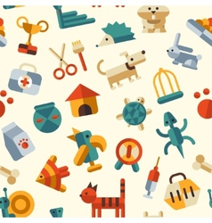 flat design pattern with pets icons vector image