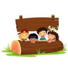 kids on log vector image vector image