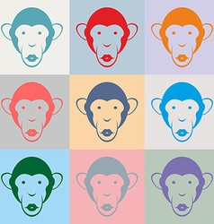 Set of monkey color portraits vector
