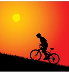 biker silhouette on the sunset vector image vector image