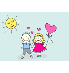 boy and girl valentines day vector image