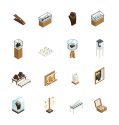 jewelry shop isometric elements vector image