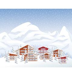Mountain ski resort in winter vector image vector image