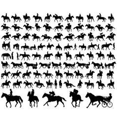Riding horses collection vector