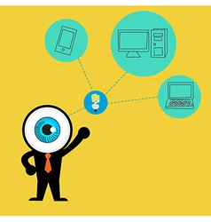 The blue eye get idea to cloud concept computing vector image vector image