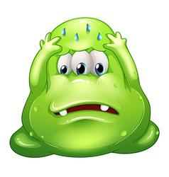 A sad greenslime monster vector image vector image