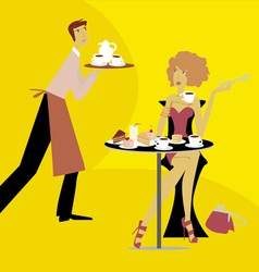 cafe scene vector image vector image