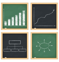 Graphs and diagrams on blackboards vector image