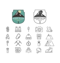Set of Summer mountain camp badge logo and label vector image vector image