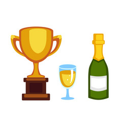 Trophy champion cup and champagne bottle vector