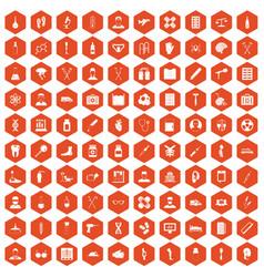 100 ambulance icons hexagon orange vector