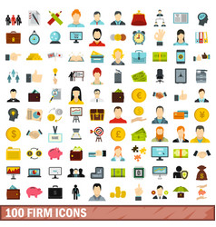 100 firm icons set flat style vector