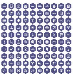 100 ride icons hexagon purple vector