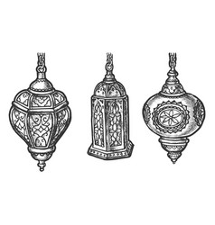 arabic lantern lamps with arab ornaments sketch vector image