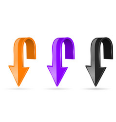 arrows down 3d shiny signs vector image