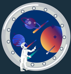 astronaut looks out window the theme space vector image